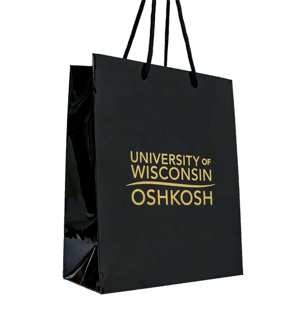 Gift Bag Logo Med Black University Books And More Uw Oshkosh