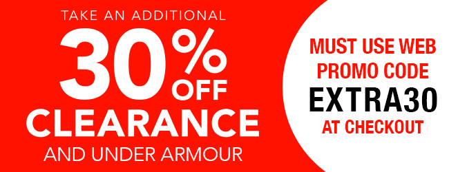 30& off clearance and under armor must use code EXTRA30 at checkout